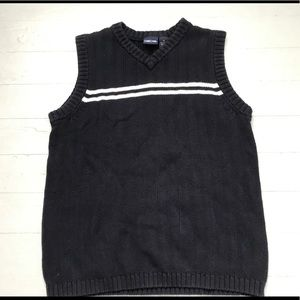 Cotton navy and white knit sweater vest
